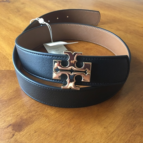 315d07c79864 Tory Burch 1.5   Tiger s Eye Logo Reversible Belt